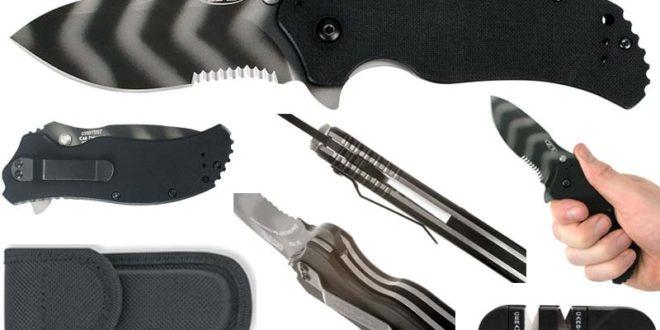 best military pocket knife - Zero Tolerance ZT0350TSST Tiger Striped Partial Serrated Tactical Pocket Knife